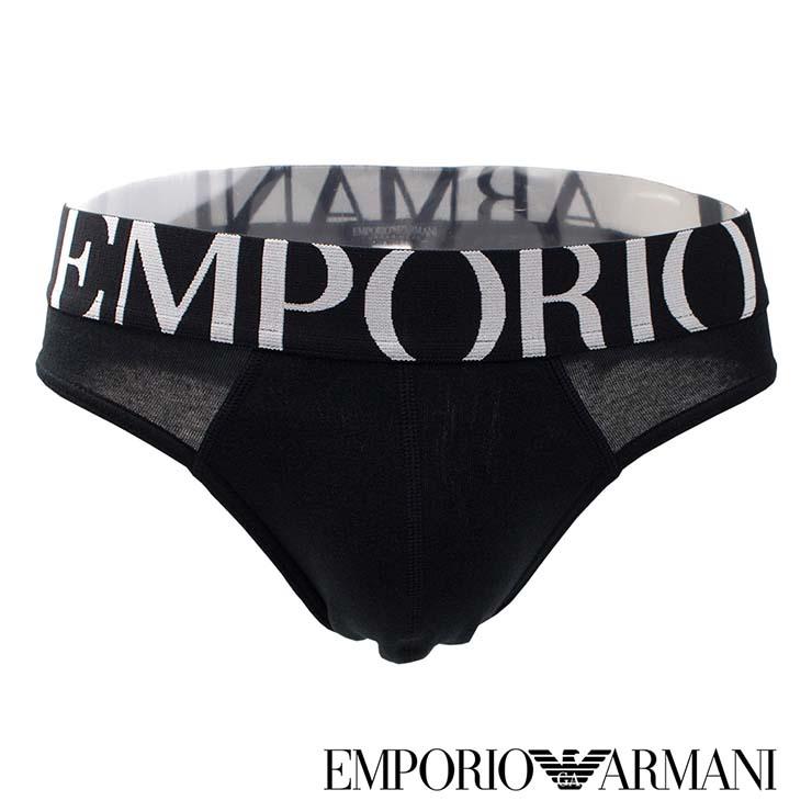 《Emporio Armani》寬褲頭大LOGO 三角 男 內褲(黑色) EA 152E-CC725BB1 EA內褲