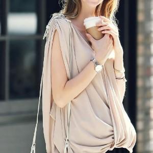 美麗大街【IR2029】簡約雙V領寬鬆收腰無袖上衣