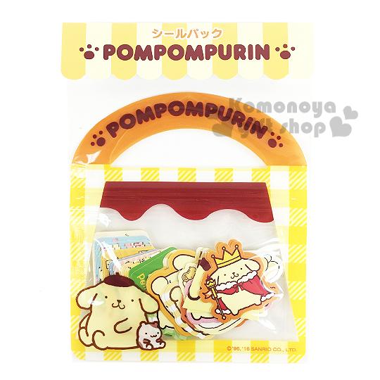 〔小禮堂〕布丁狗 日製提袋造型貼紙組《黃.20款.40枚.坐姿.格紋》可愛造型貼紙