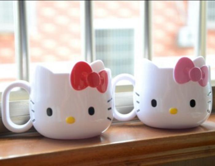 tangyizi輕鬆購【DS040】hello kitty漱口杯 茶杯 KT 牙具收纳杯架兒童立体杯漱口杯刷牙杯