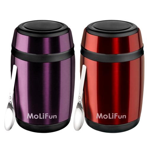 MoliFun魔力坊 不鏽鋼真空保鮮保溫罐/燜燒罐/食物罐550ml-寶石紅/時尚紫(MF0230)