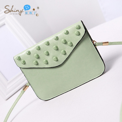 【P022】shiny藍格子-時尚可愛‧夏季新款迷你小包包鉚釘手機包斜挎包單肩包