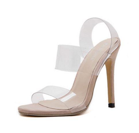 2017歐美IG穿搭款卡戴珊款透明性感鏤空細高跟涼凱莉鞋部落客穿搭款