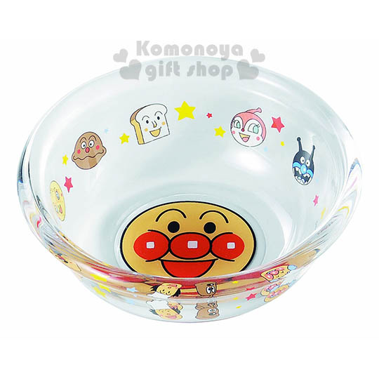 〔小禮堂〕麵包超人 日製玻璃碗《透明.大臉.朋友.星星.盒裝》送禮自用皆宜