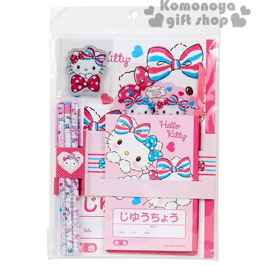 〔小禮堂〕Hello Kitty 文具組《粉.雙條紋蝴蝶結.愛心.袋裝》超值5件文具組合