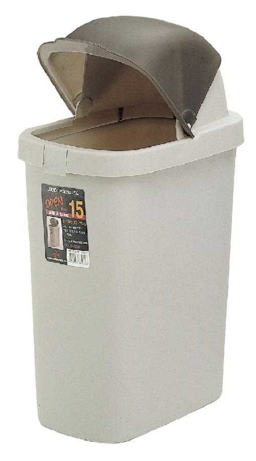 POLYWISE BI-5288 開口笑紙林垃圾桶(15L)  灰色&咖啡色 台灣製造 日式居家