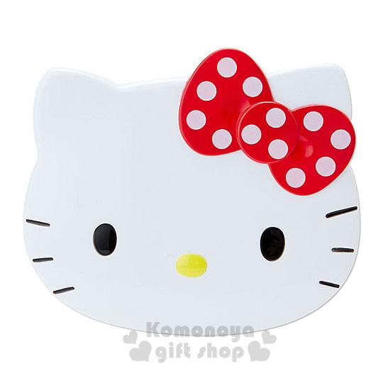 〔小禮堂〕Hello Kitty 造型印章收納盒《白.大臉.白點點蝴蝶結》