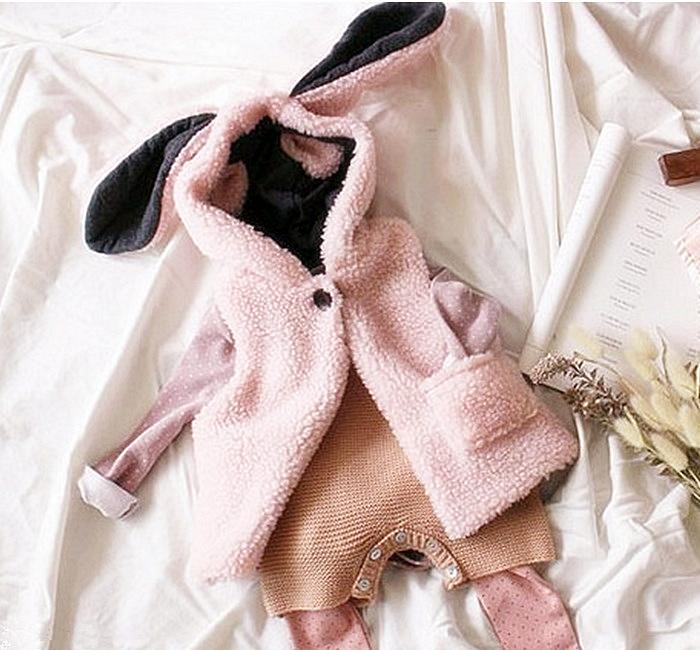 【貝貝樂SHOW】可愛長耳兔連帽毛絨背心外套~粉色