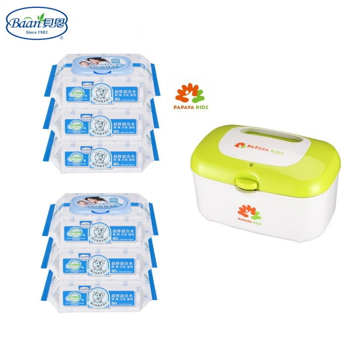 *美馨兒*貝恩-Baan EDI超純水柔濕巾濕紙巾-超厚80抽X6包+PAPAYA KIDS 濕紙巾加熱器 899元