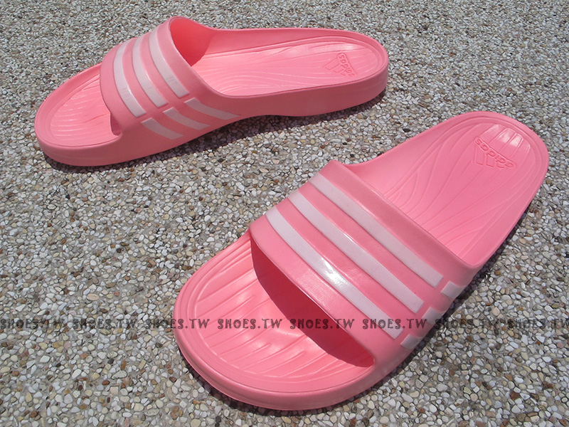 Shoestw【B35947】ADIDAS DURAMO SLIDE 拖鞋 一體成型 粉紅 女款 窄版