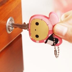 美麗大街【BF077E16E1】時尚創意可愛卡通動物矽膠鑰匙扣鑰匙套