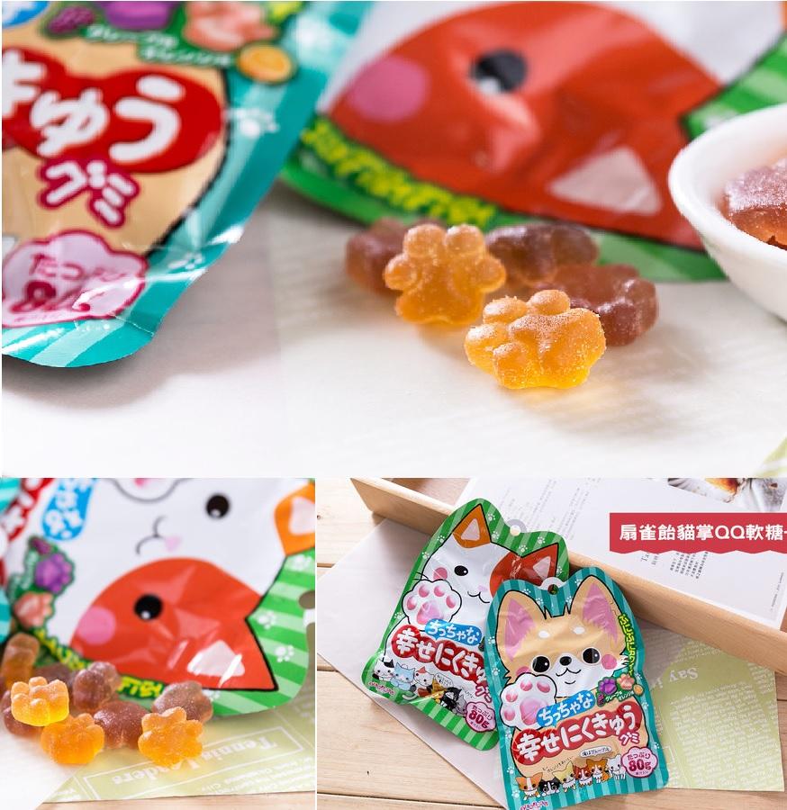有樂町進口食品 日本進口 扇雀飴 幸福QQ軟糖(葡萄&柳橙) 80g 4901650228089