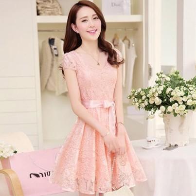 [暢銷限時特價]  韓國連線淑女公主修身短袖洋裝-M-2XL - 梅西蒂絲