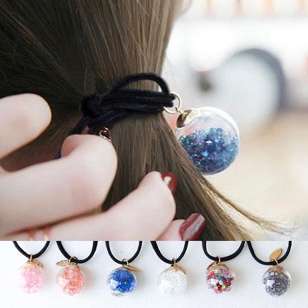 韓版 碎鑽玻璃球造型髮束 水鑽 雪球 大力丸 髮飾 髮圈 髮繩 橡皮筋【N201818】