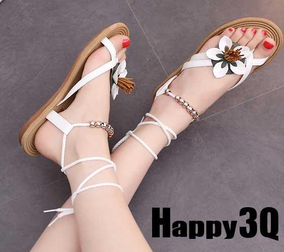 度假風迷人花朵流蘇串珠低跟露趾涼鞋 -白/黑36-40【AAA0229】