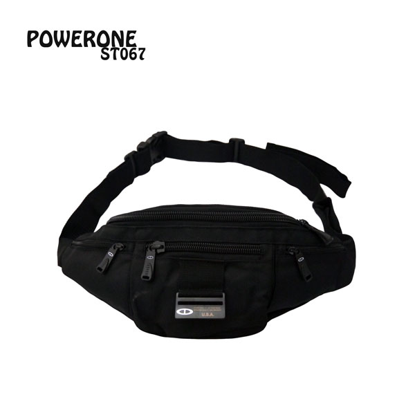 【加賀皮件】POWERONE 防潑水尼龍 耳機孔 貼身腰包 水餃型腰包 ST067