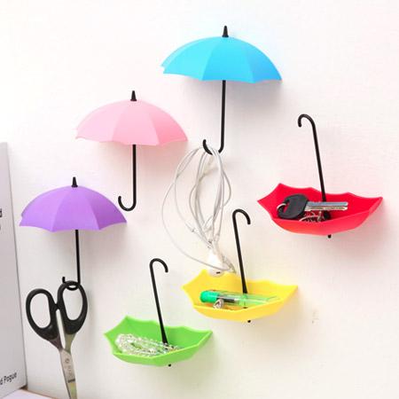 居家小物 繽紛雨傘牆壁掛鉤支架/擺飾/掛勾(3入)【N202064】
