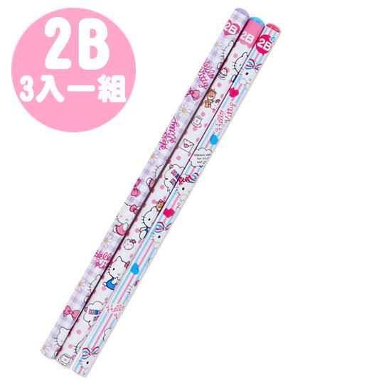 〔小禮堂〕Hello Kitty 六角鉛筆組《3支入.紫白.雙條紋蝴蝶結》2B筆芯