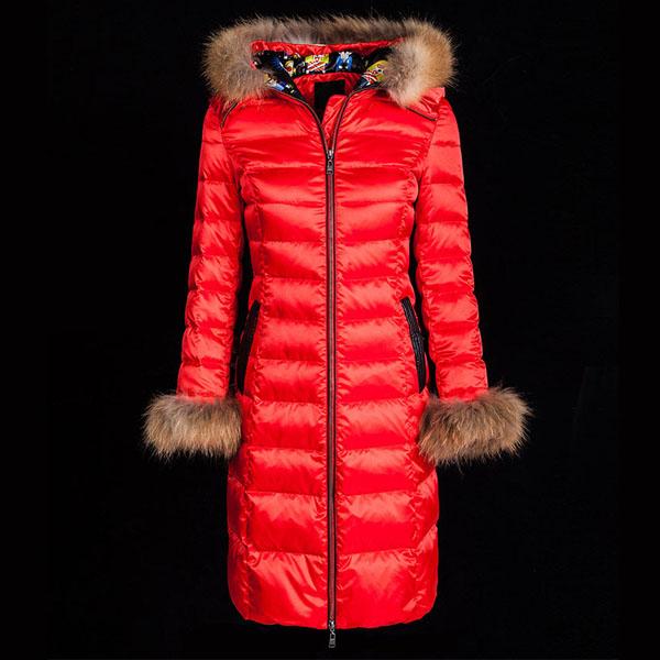 貉子毛連帽大紅色修身長版羽絨外套