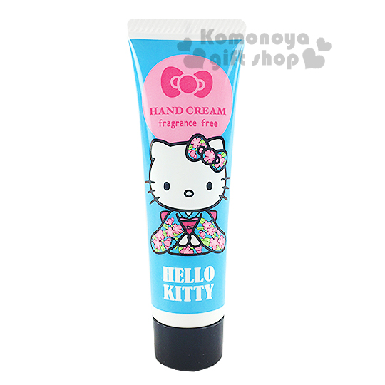 〔小禮堂〕Hello Kitty 日製香味護手霜《藍.和服.無香料.20ml》