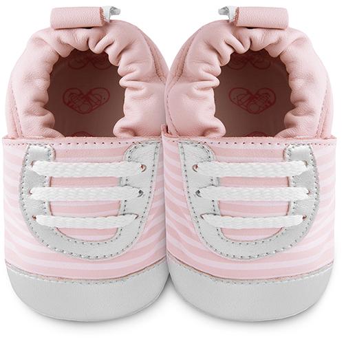 【HELLA 媽咪寶貝】英國 shooshoos 安全無毒真皮手工鞋/學步鞋/嬰兒鞋_粉銀斑馬紋運動型_101039 (公司貨)