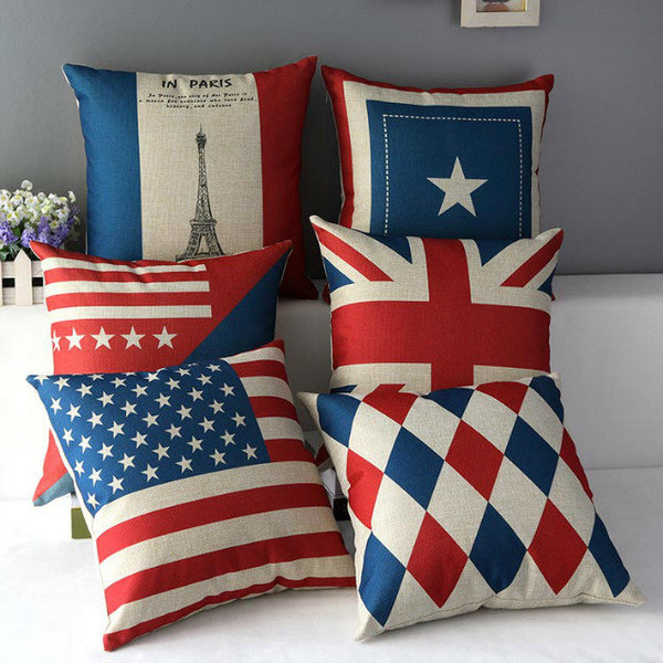 英倫風埃菲爾鐵塔法國美國英國國旗棉麻辦公室沙發抱枕靠枕靠墊