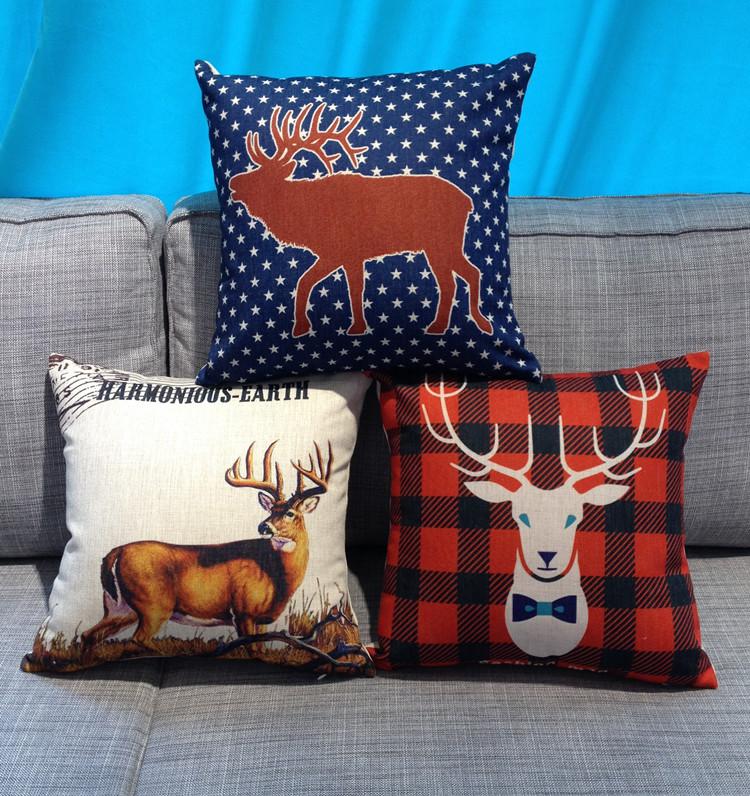 美式鄉村紅格藍鹿聖誕節抱枕套靠墊套北歐卡通動漫加厚含芯45頭像