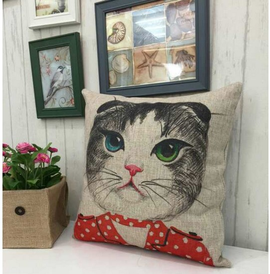 後現代卡通貓棉麻抱枕 時尚汽車沙發靠墊宜家亞麻創意靠枕