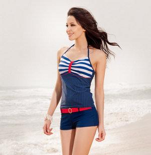 時尚可愛兩件式海軍風修身顯瘦 分體兩件式泳裝 韓國風女游泳衣 (可加購防水lomo相機)