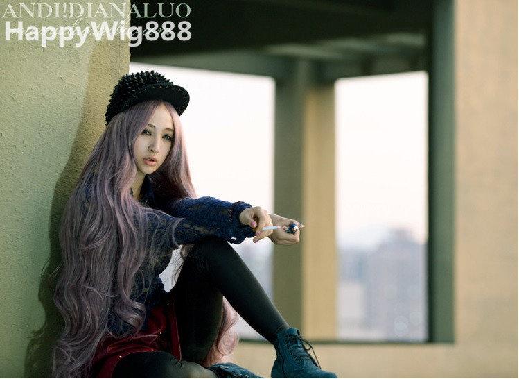 100CM+送配件《原宿系列28》紫芋長髮公主 中分空氣感漸變長捲髮 全頂式假髮 動漫女僕 cos假髮 角色