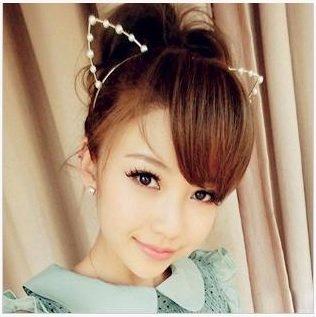 HAPPYWIG╭*韓國 猫女郎益若翼同款‧貓耳朵水鑽/珍珠髮箍復古寶石髮夾髮箍