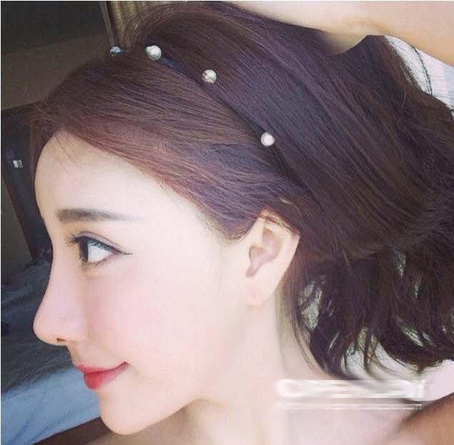 氣質推薦款>>韓國 手工串珠簡約珍珠 黑色髮箍 點點珍珠髮篐