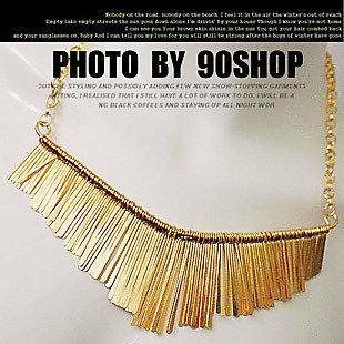 蔡依林同款 歐美混搭金屬流蘇短項鏈扇形項鏈 女毛衣鏈 53g 項鍊