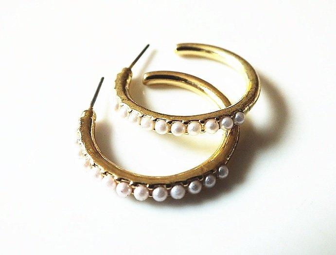 **歐美精品** 珍珠鍍金耳環‧高品質 抗過敏‧大圈圈耳環