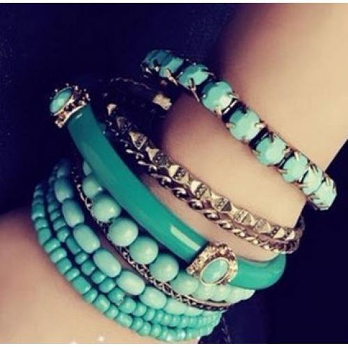 波西米亞海洋風清爽綠色珠珠多層手鐲手鍊 多層次民族風手環 湖水藍 土耳其藍色