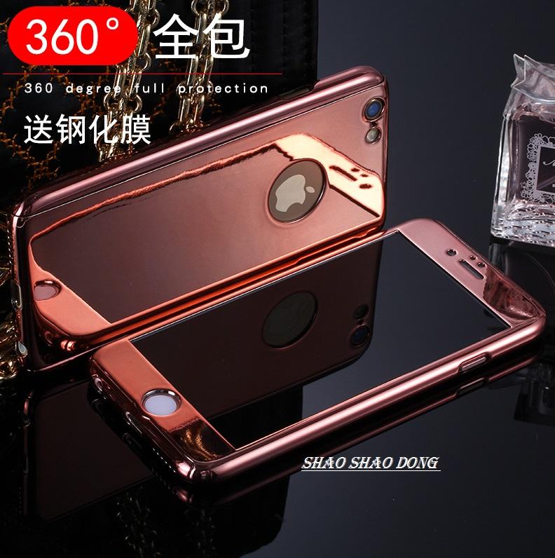 【少東商會】自拍鏡面全包手機殼+送鋼化膜 iPhone 6/6S Plus i6 i6s 電鍍全包手機殼 三合一