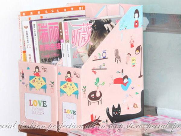 ◎123便利屋◎【DK144】韓國小女孩『粉紅造型整理盒-小8.5cm寬』A4文件收納盒 書報整理收納