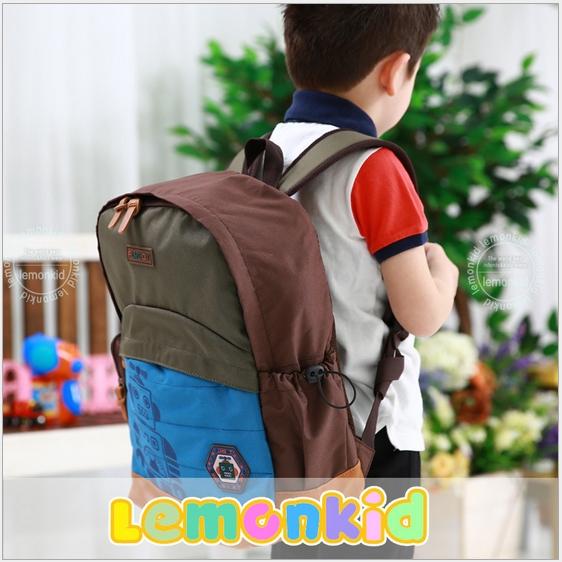 Lemonkid◆時尚帥氣機器人質感徽章LOGO兒童書包雙肩包休閒後背包-綠色