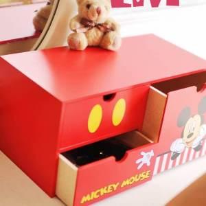 美麗大街【105051019】迪士尼米奇造型長型三層櫃 收納盒