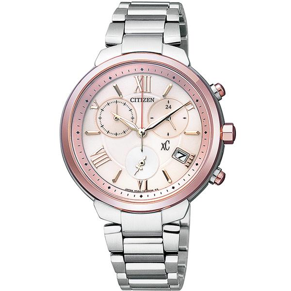 CITIZEN星辰FB1334-54W俏麗粉紅鈦金屬光動能女錶/粉紅34mm