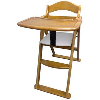 【美國 L.A. Baby】高級實木兒童餐椅(咖啡色)