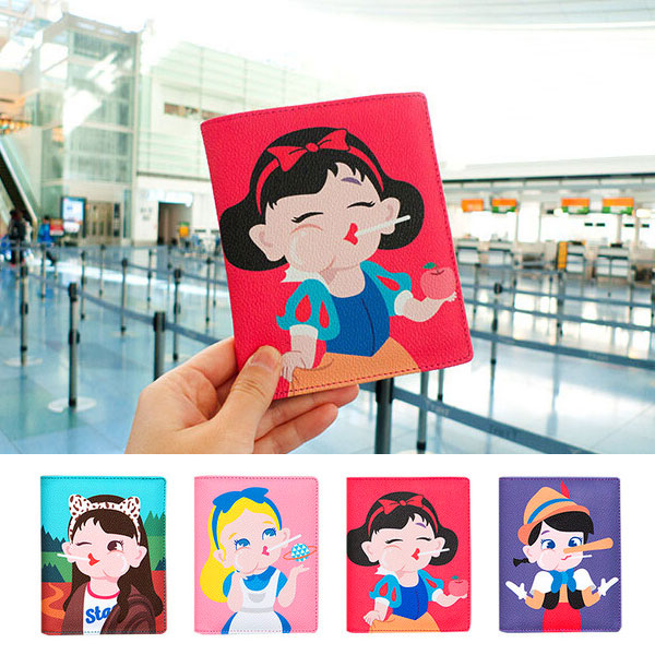 棒棒多功能護照夾 可愛軟妹多功能皮革證件夾套 零錢包 卡夾 白雪公主 愛麗絲