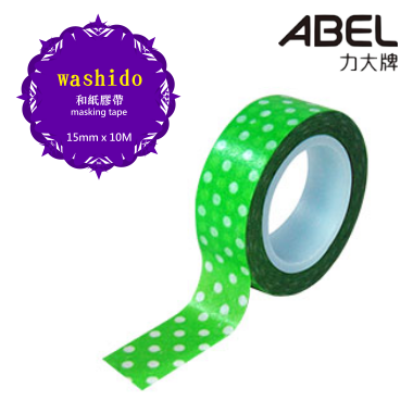 ABEL力大 【綠水玉】和紙膠帶 ( #12503-7 ) 任選3捲特價$79元