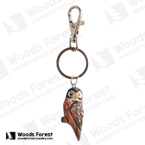 Woods Forest 木雕森林 - 木雕鑰匙圈【Q版貓頭鷹】