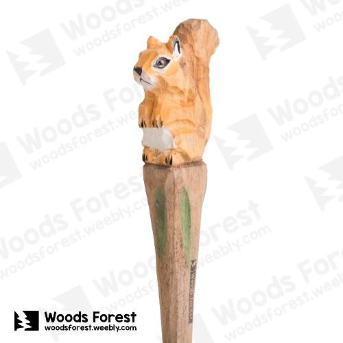 木雕森林 Woods Forest - 手工動物木雕筆【松鼠】( 筆質量輕;握筆輕鬆舒適;滑順好寫,用完可替換,實用且經濟!)