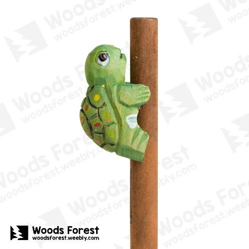 木雕森林 Woods Forest - 手工動物木雕筆【Q版龜】( 筆質量輕;握筆輕鬆舒適;滑順好寫,用完可替換,實用且經濟!)