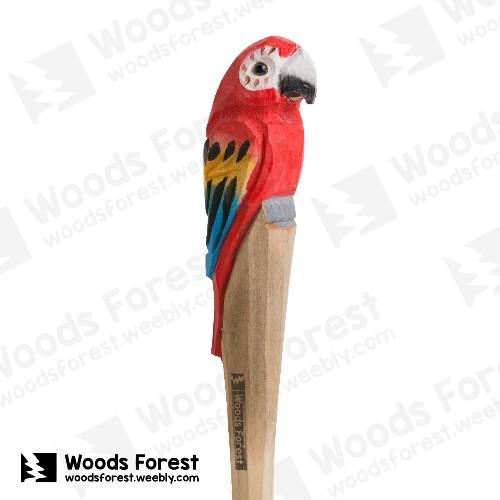 木雕森林 Woods Forest - 手工動物木雕筆【紅鸚鵡】( 筆質量輕;握筆輕鬆舒適;滑順好寫,用完可替換,實用且經濟!)