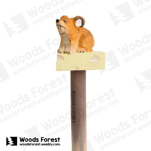 木雕森林 Woods Forest - 手工動物木雕筆【起司鼠】( 筆質量輕;握筆輕鬆舒適;滑順好寫,用完可替換,實用且經濟!)
