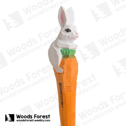 木雕森林 Woods Forest - 手工動物木雕筆【胡蘿蔔兔】( 筆質量輕;握筆輕鬆舒適;滑順好寫,用完可替換,實用且經濟!)