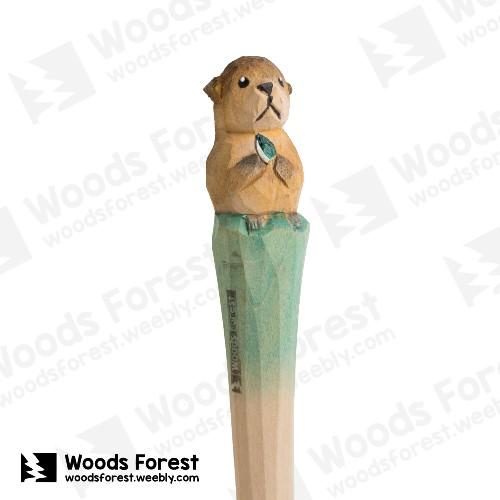 木雕森林 Woods Forest - 手工動物木雕筆【海獺】( 筆質量輕;握筆輕鬆舒適;滑順好寫,用完可替換,實用且經濟!)